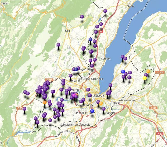 carte des conflits amphibiens-trafic à Genève